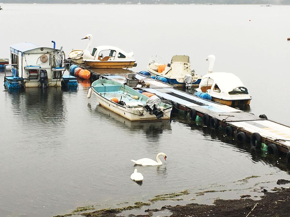 山中湖のボート乗り場(釣り)