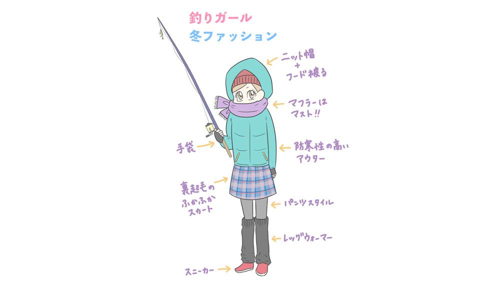 釣りガールの冬場の服装と釣り事情イラスト解説