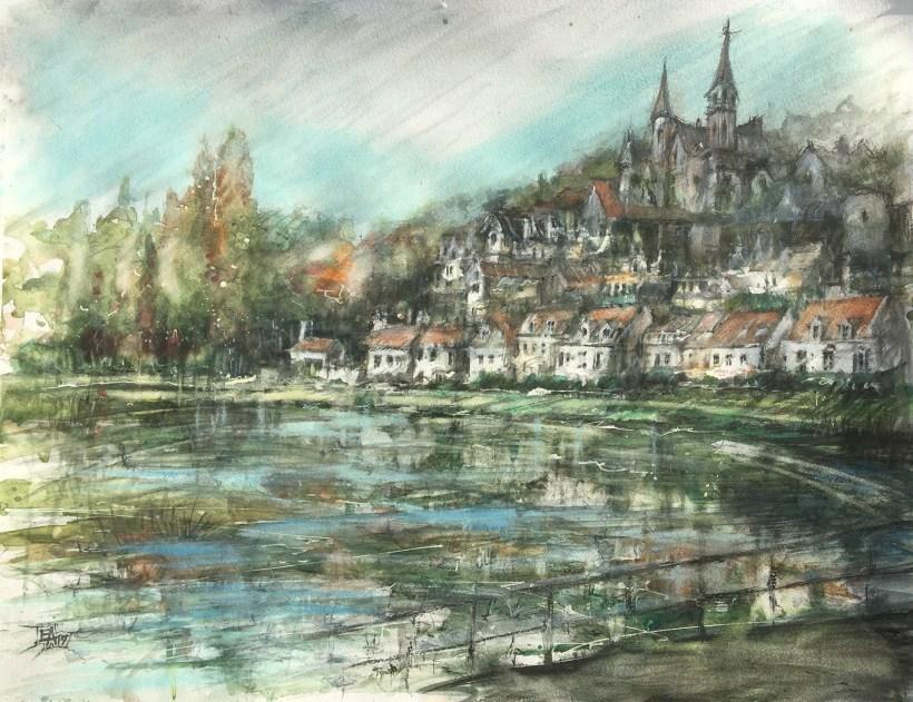 Le lac de Pierrefonds- dim. 63x47 cm