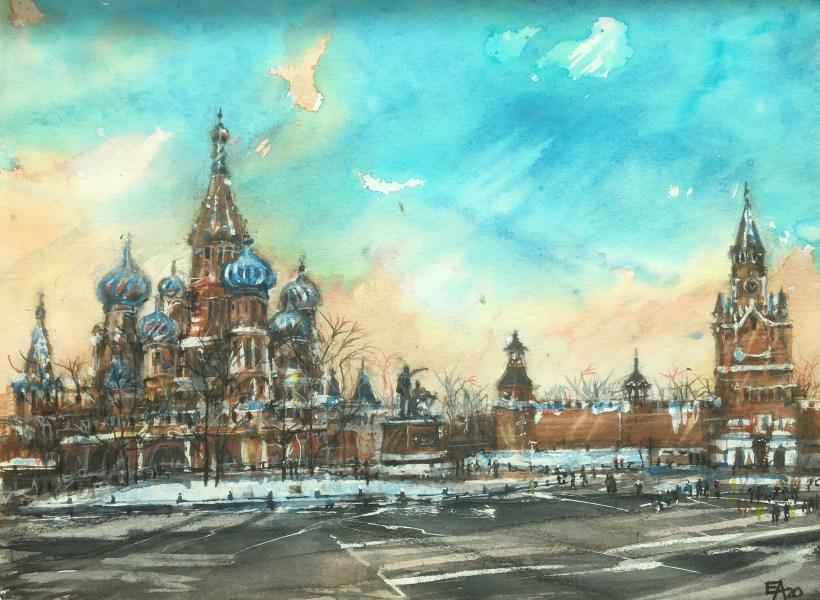 La Place Rouge en hiver- dim. 46x34cm