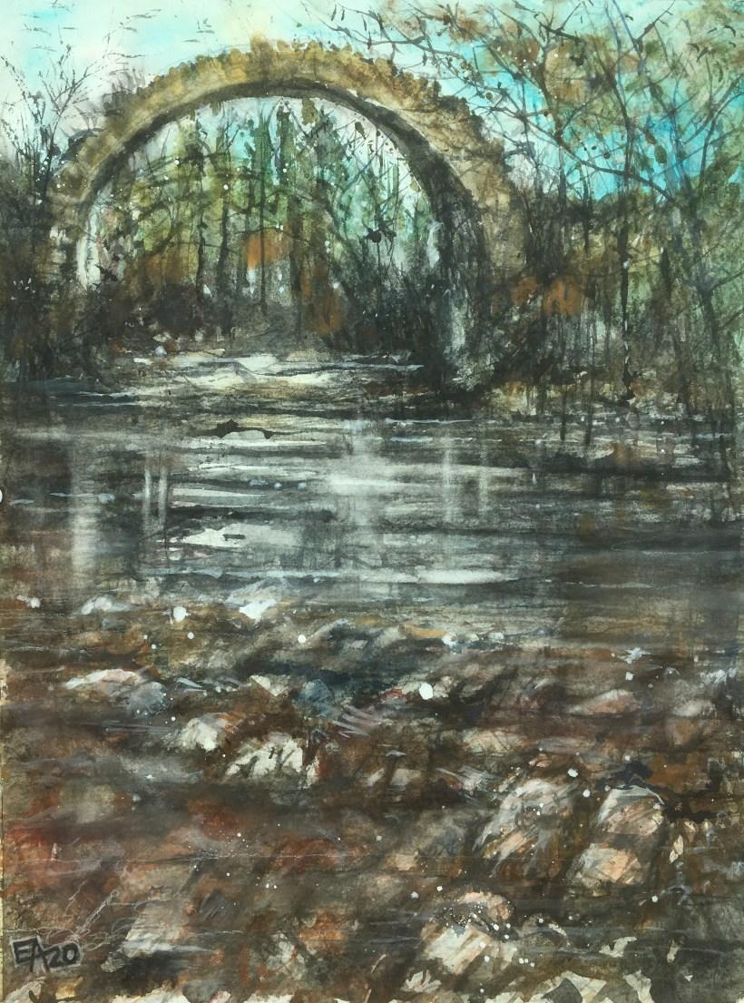 La ruine et la rivière- dim. 34x46cm