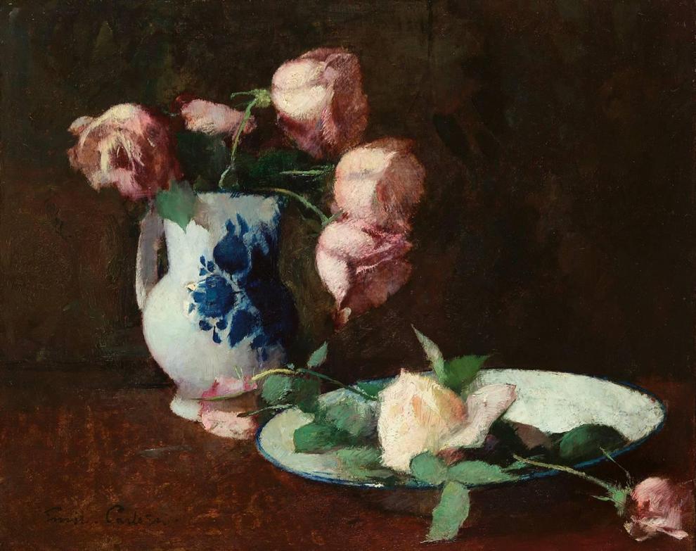 Emil Carlsen : Still life, roses, ca.1883.