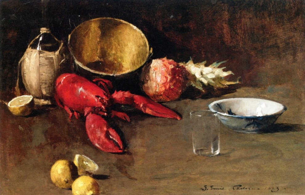 Emil Carlsen : Still life with lemon and lobster, 1883.