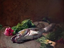 Emil Carlsen Still Life with Fish and Radishes 1884