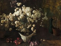 Emil Carlsen Still Life with Chrysanthemums (in Wrapped Pot) c.1885