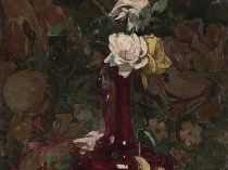 Emil Carlsen : Still life of roses in vase,1887.