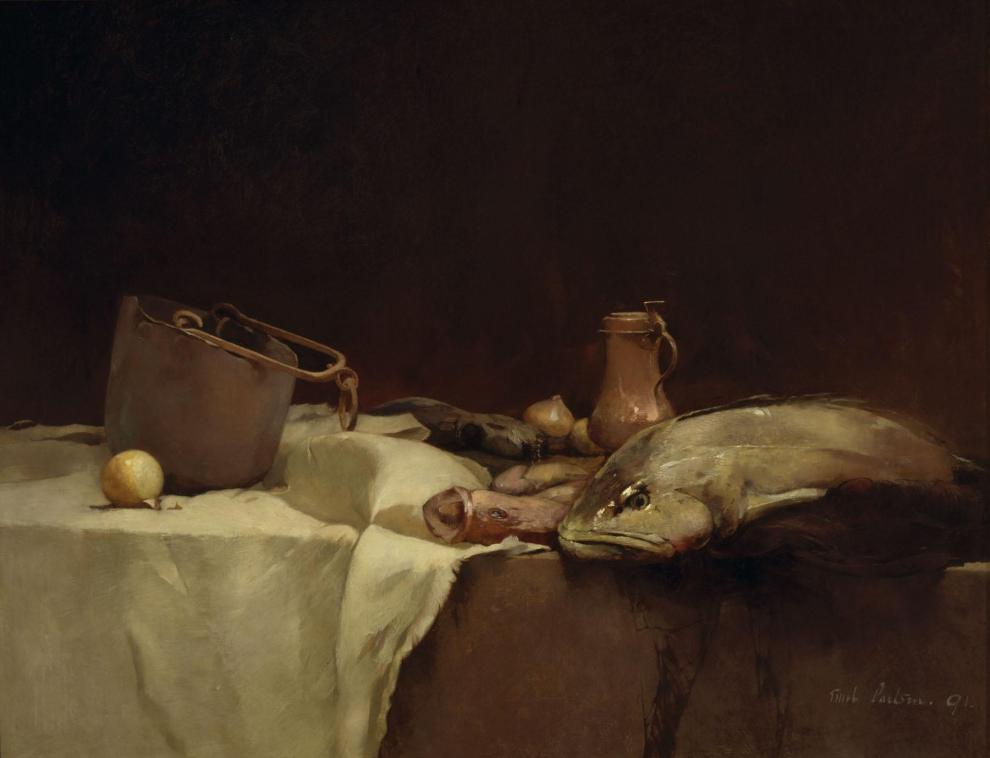 Emil Carlsen : Still life [with fish and pot], 1891.