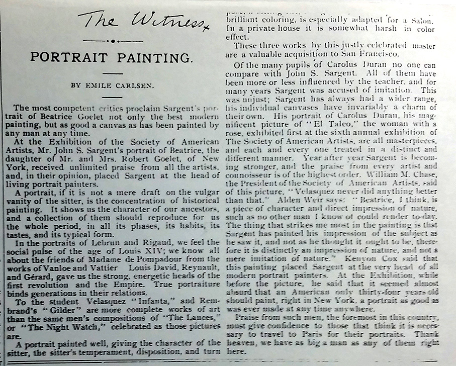 "The Wave, San Francisco, CA, ""Portrait painting"" by Emile Carlsen, September 26, 1891, page 8, column 2, not illustrated."