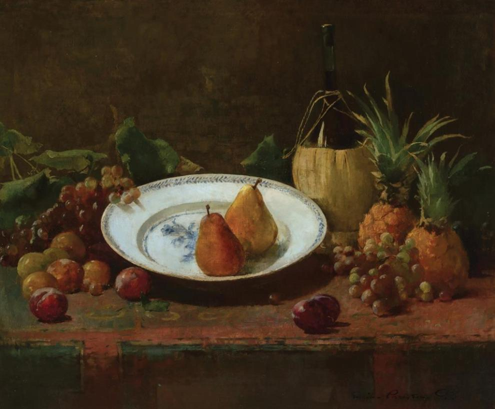 Emil Carlsen : Still life with fruit and wine, 1893.