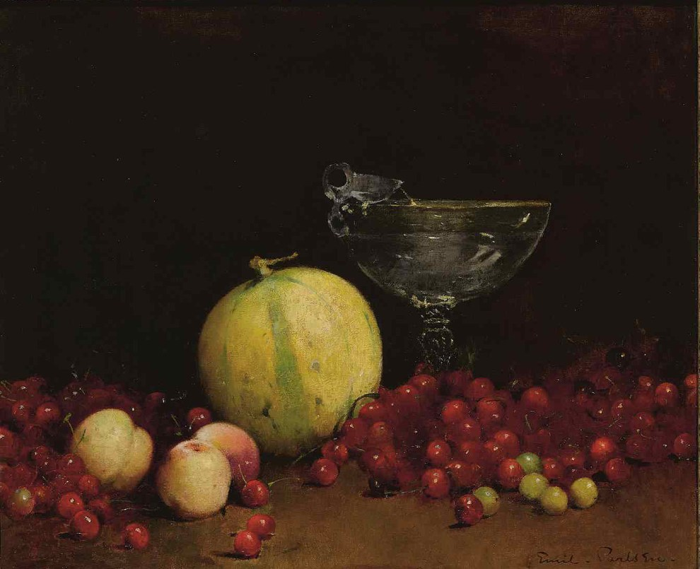 Emil Carlsen : Still life with cherries, melon and nectarine, ca.1893.