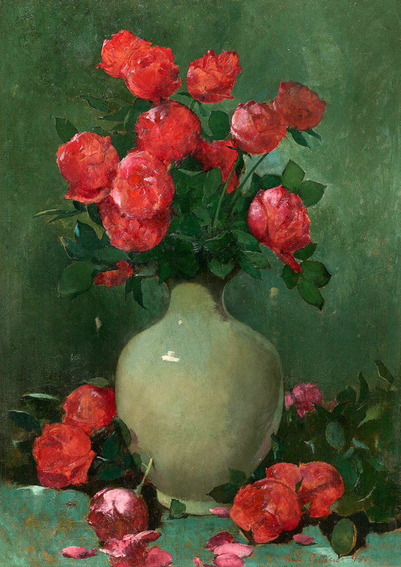 Emil Carlsen : Red roses and green vase, 1895.
