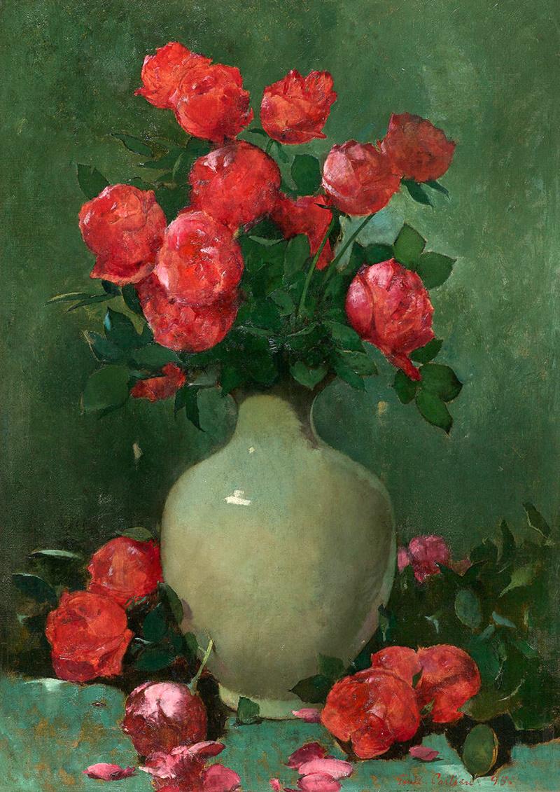 Emil Carlsen : Red roses and green vase, 1895.