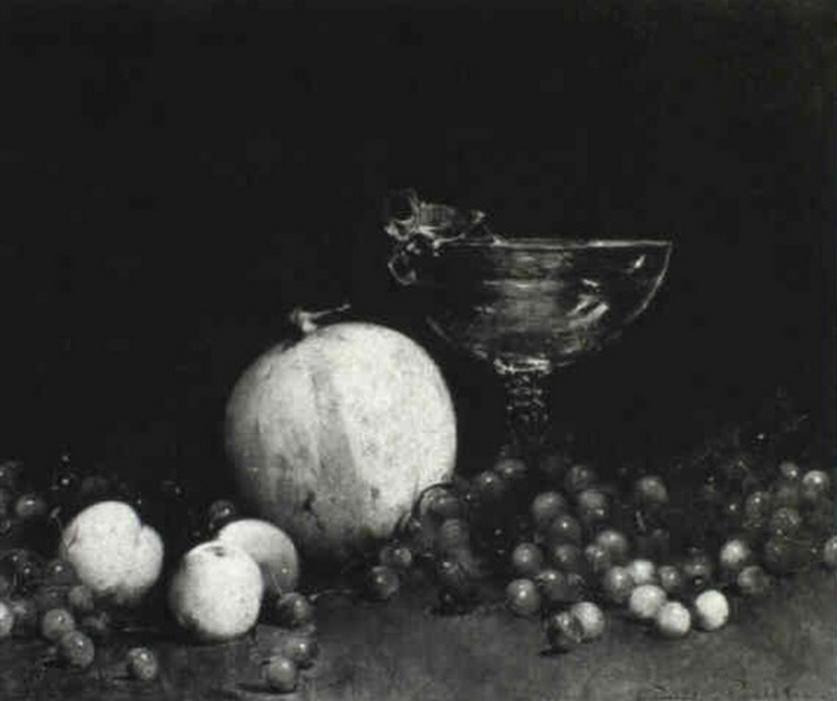 Emil Carlsen Still Life with Cherries, melon and nectarine (also called Still Life with Cherries), c.1893