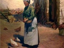 Emil Carlsen Woman Feeding Chickens, 1886