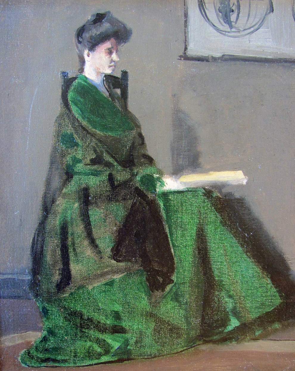 Emil Carlsen : Seated woman in green, ca.1896.