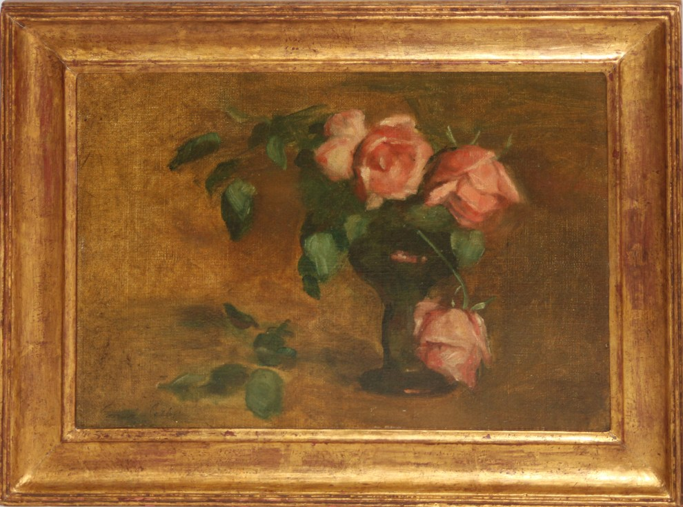 Emil Carlsen : Rose study in black glass roemer, ca.1897