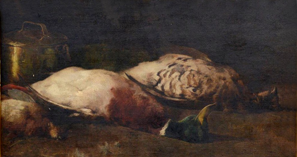 Emil Carlsen : Still life [mallard, grouse, timberdoodle and copper pots], 1897.