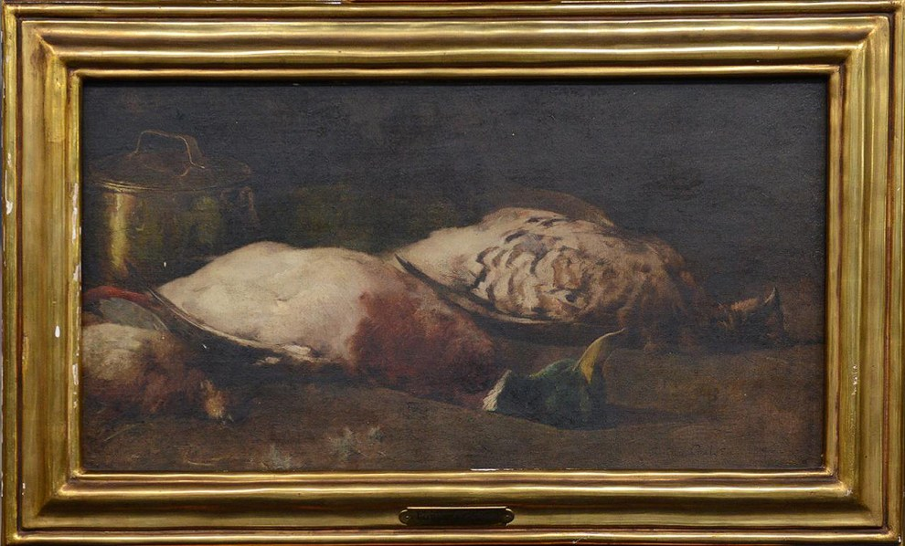 Emil Carlsen : Still life [with mallards and copper pots], 1897.