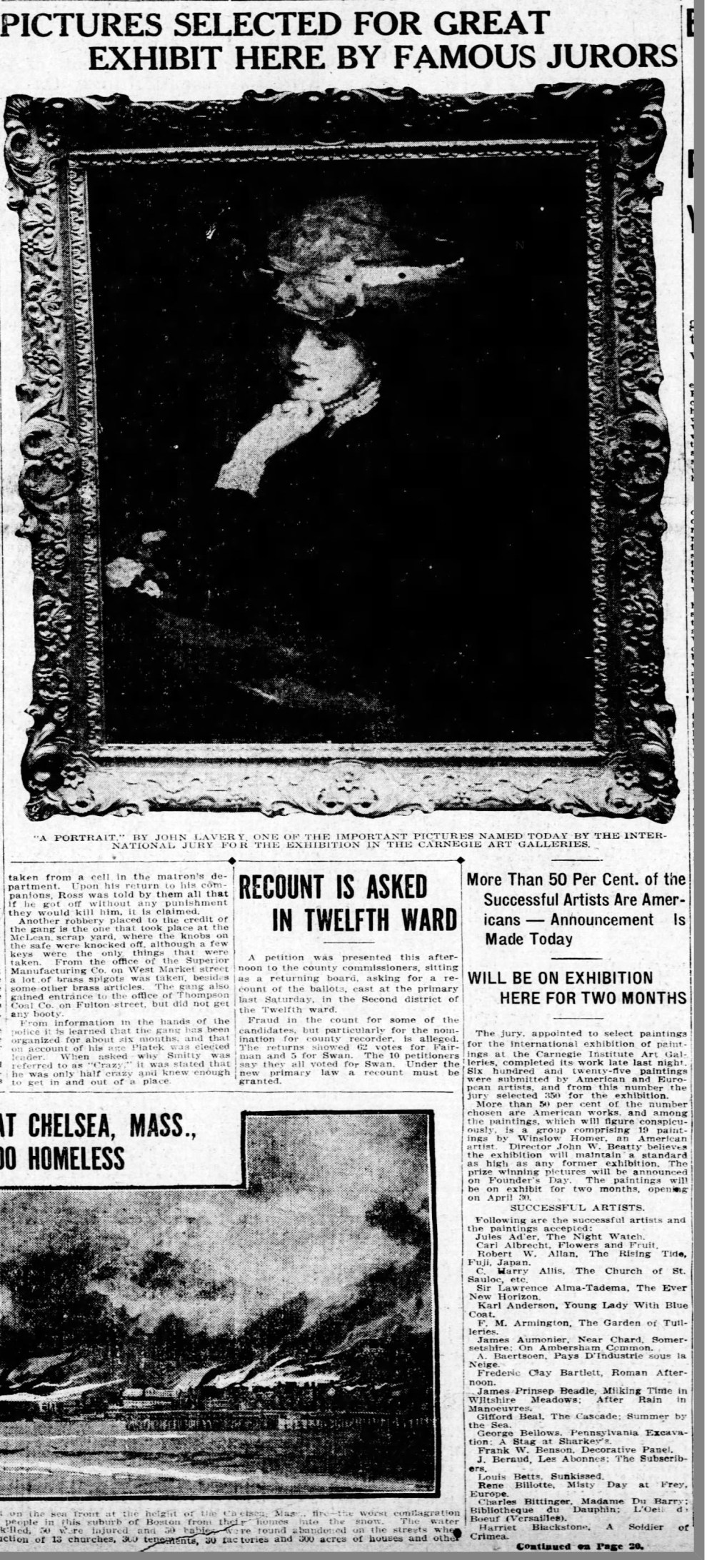 """Pittsburgh Press, Pittsburgh, PA, """"Pictures selected for great exhibit"""", Wednesday, April 15, 1908, main edition, page 20, not illustrated"""