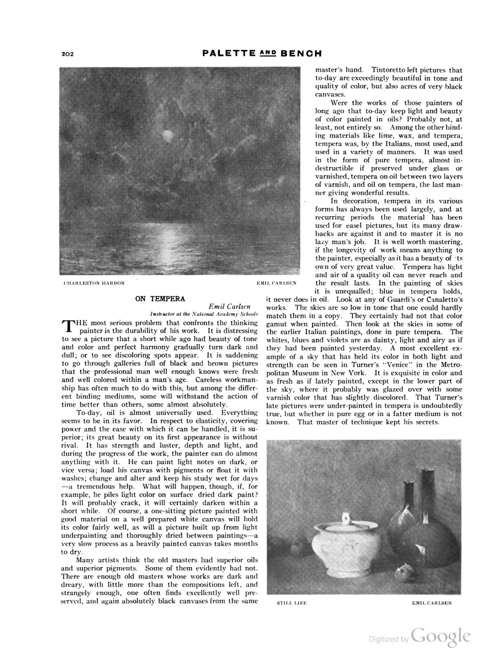 "1909 Palette and Bench, ""On Painting with Tempera"" by Emil Carlsen, July, 1909, Volume 1, #10, pg. 202-203, 224-225"
