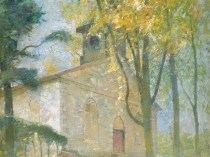 Emil Carlsen Windham Church, Connecticut (also called Wyndham Church & Windham Church), c.1911