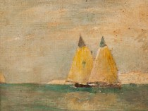 Emil Carlsen : Seascape with sailboats, ca.1917.