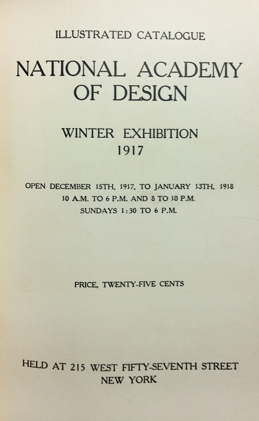 "1917 National Academy of Design, New York, NY ""Winter Exhibition"", December 15, 1917 - January 13, 1918"