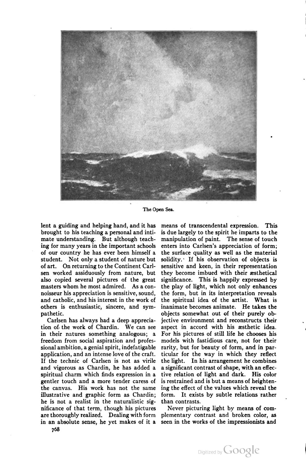 """Scribner's Magazine, New York, NY, """"The Field of Art: Emil Carlsen"""" by Eliot Clark, December, 1919, page 767-770"""