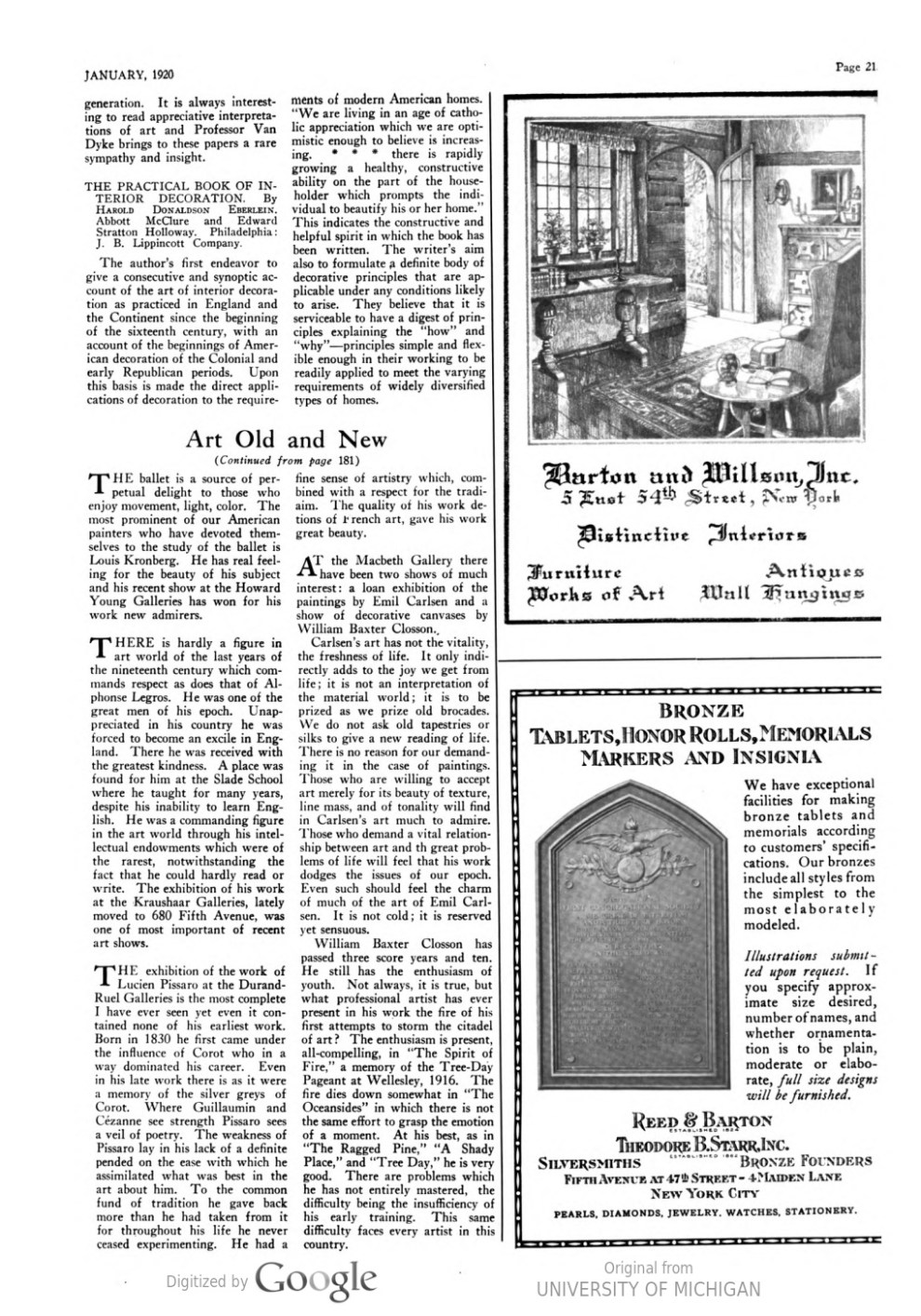"Arts and Decoration, New York, NY, ""Art old and new in the current shows"" by Hamilton Easter Field, January, 1920, Volume 12, Number 3, illustrated: b&w on page 180"