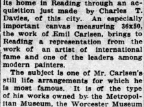 "Reading Times, Reading, PA, ""Fine painting for a reading man"", Friday, September 24, 1920, page 10, not illustrated"