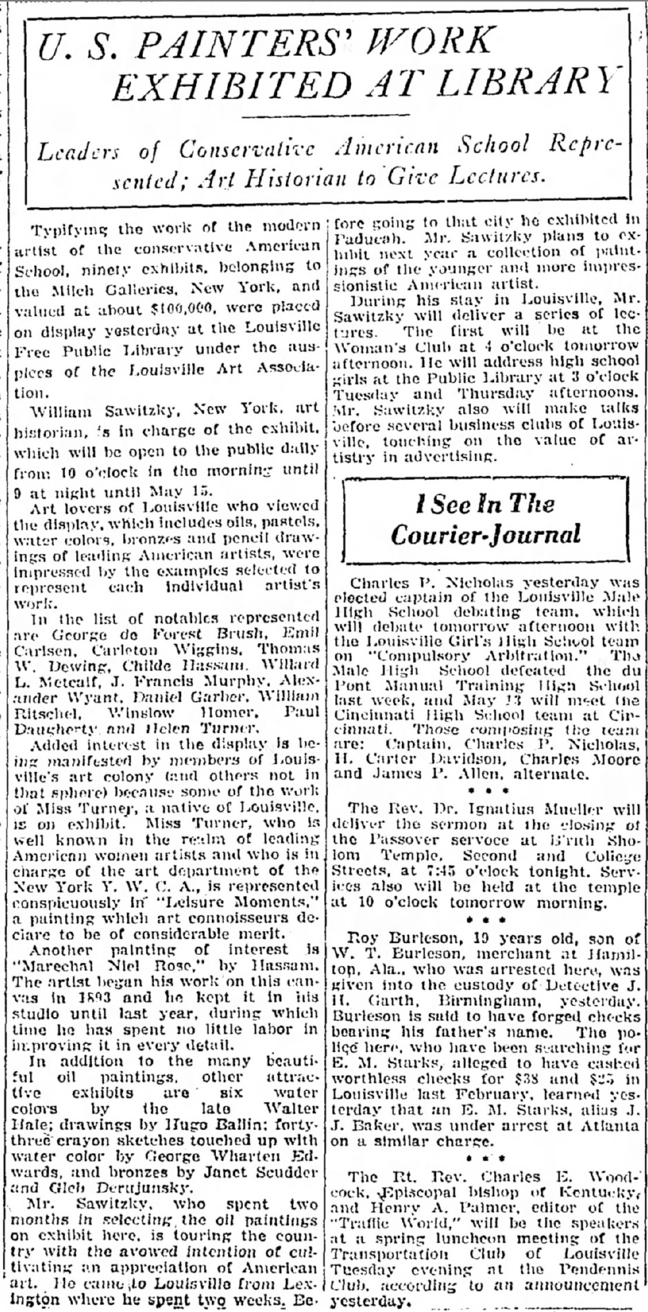 """The Courier Journal, Louisville, KY, """"U.S. painters' work exhibited at library : leaders of conservative American school represented ; art historian to give lectures"""", April 28, 1921, not illustrated."""