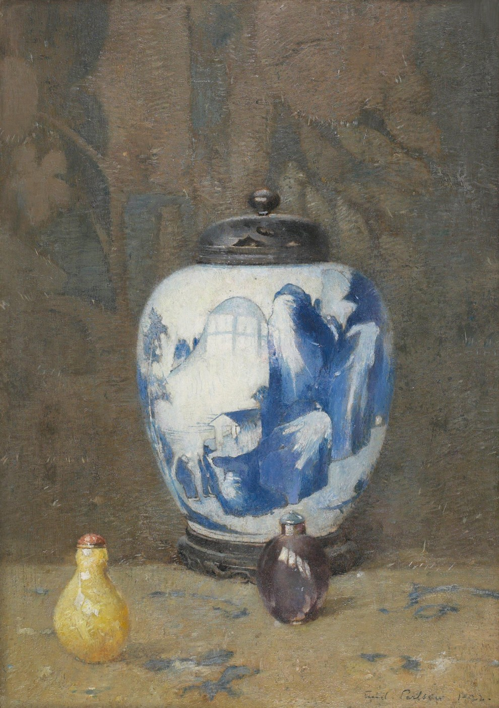 Emil Carlsen : Still life, chinese vase, 1922.