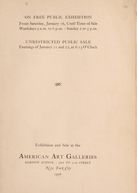 "1926 American Art Association [1883-1964], New York, NY, ""The Samuel T. Shaw collection"", January 16-22."