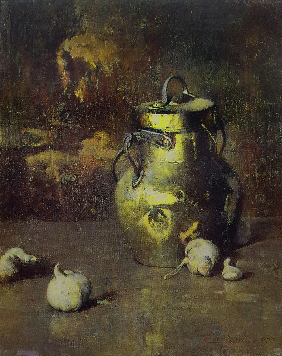 Emil Carlsen : Brass jar with garlic, 1927.