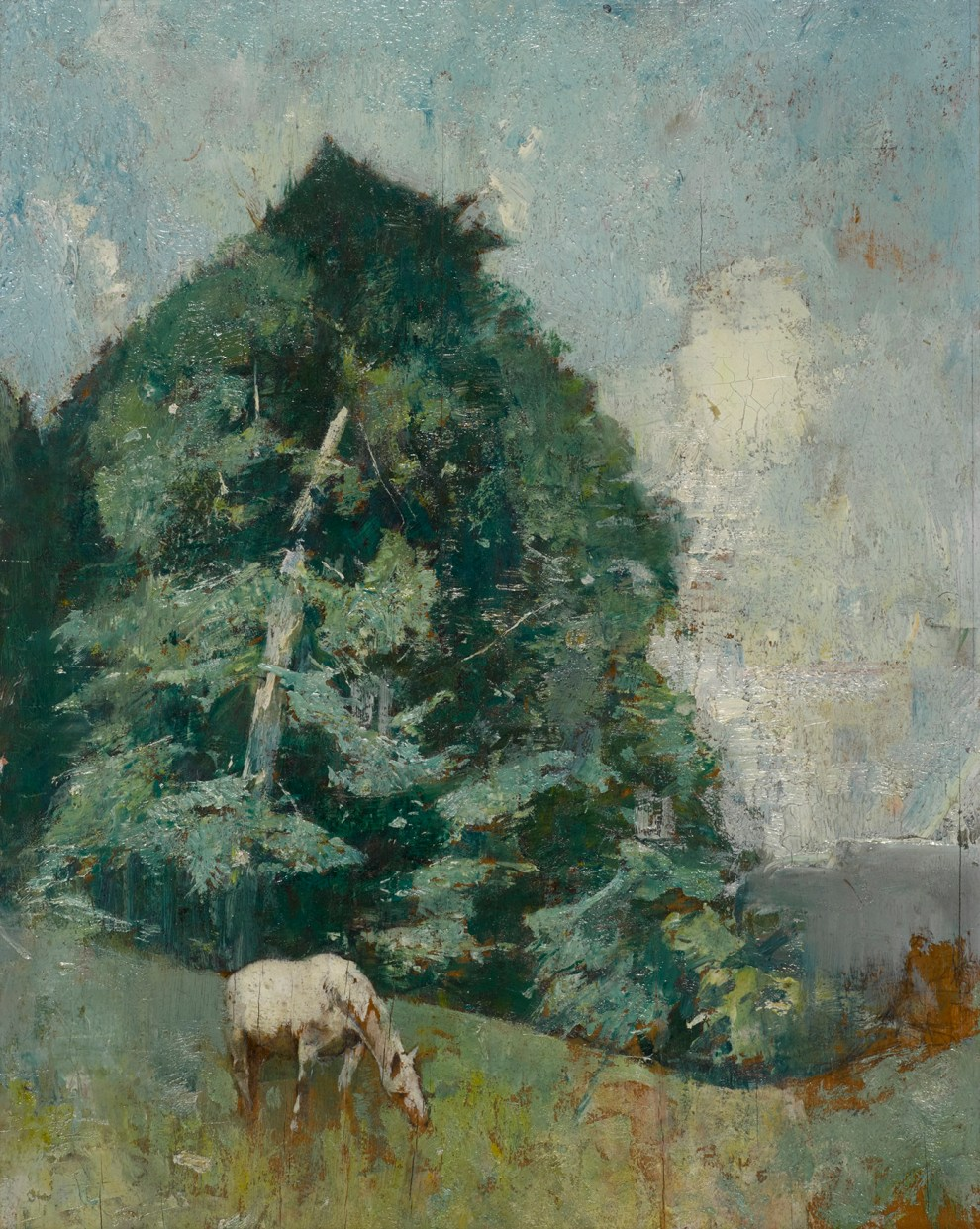 Emil Carlsen : Horse grazing, ca.1930.