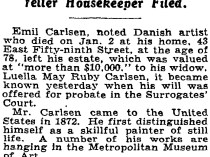 "New York Times, New York, NY, ""Emil Carlsen Left Estate To His Wife"", January 31, 1932"