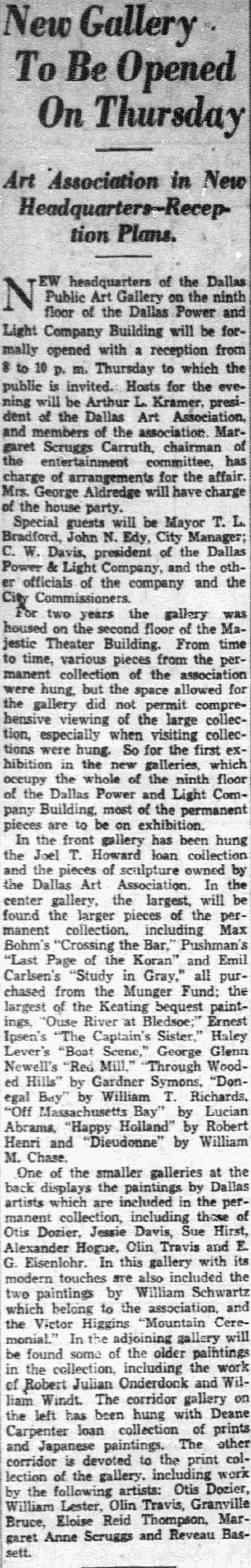 "Dallas Morning News, Dallas, TX, ""New gallery to be opened on Thursday"", July 10, 1932, page 7, not illustrated"