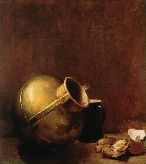 Emil Carlsen Still Life with Oysters and Brass Jug (also known as Bronze Jug and Oysters & Still Life with Copper Pot) 1892