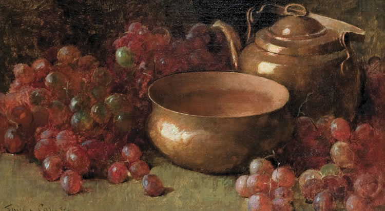 Emil Carlsen Still Life with Grapes and Copper Pots, c.1890