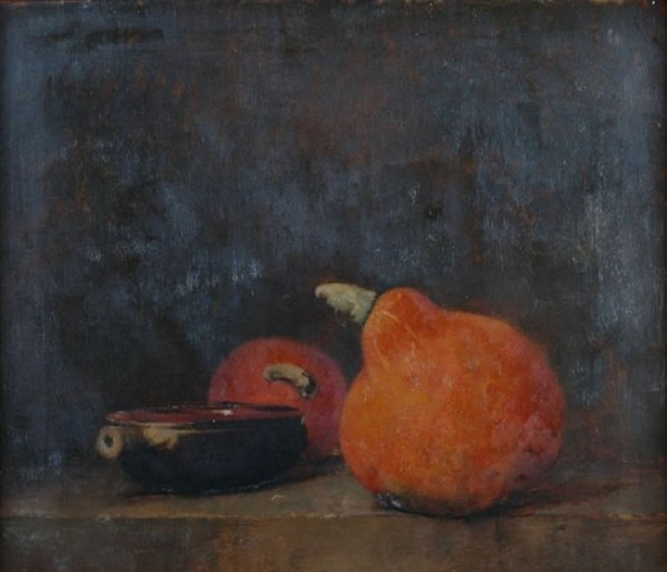 Emil Carlsen : Still life with gourds and bowl, ca.1883.