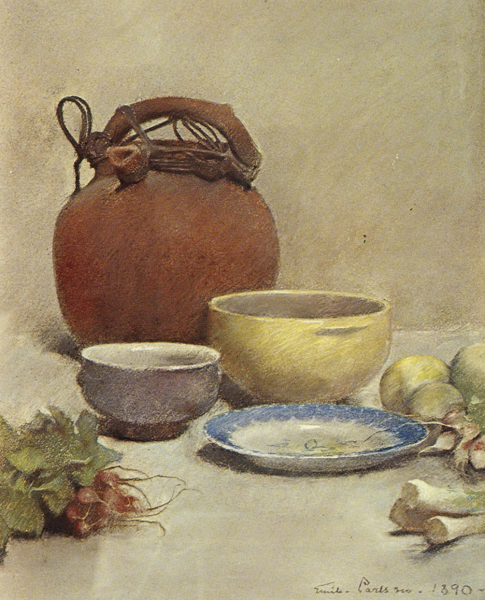 Emil Carlsen Still Life in Pastel (also called Still Life - Arrangement with Water Jug), 1890