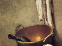 Emil Carlsen : Copper bowl, white vase, cloth and onions, ca.1890.
