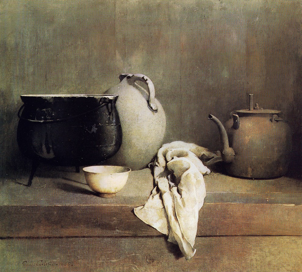 Emil Carlsen : Study in grey [caldron, jug, bowl and tea pot], 1906.