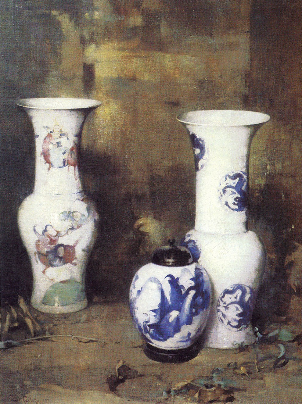 Emil Carlsen : Ming vases and ginger jar, 1931.