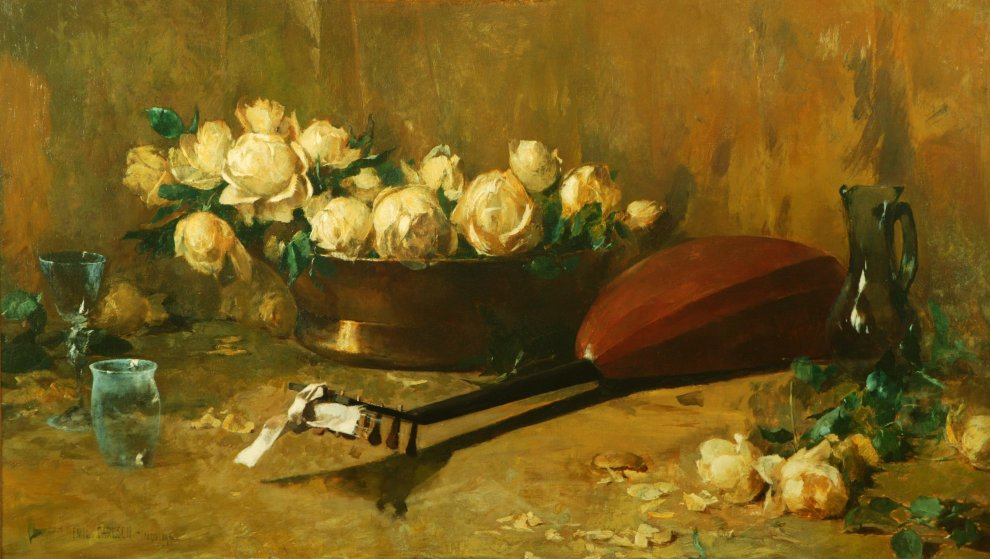 Emil Carlsen : Still life with roses and mandolin, 1884.