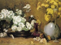Emil Carlsen Still Life: Chrysanthemums (also called Still Life with Flowers), 1885