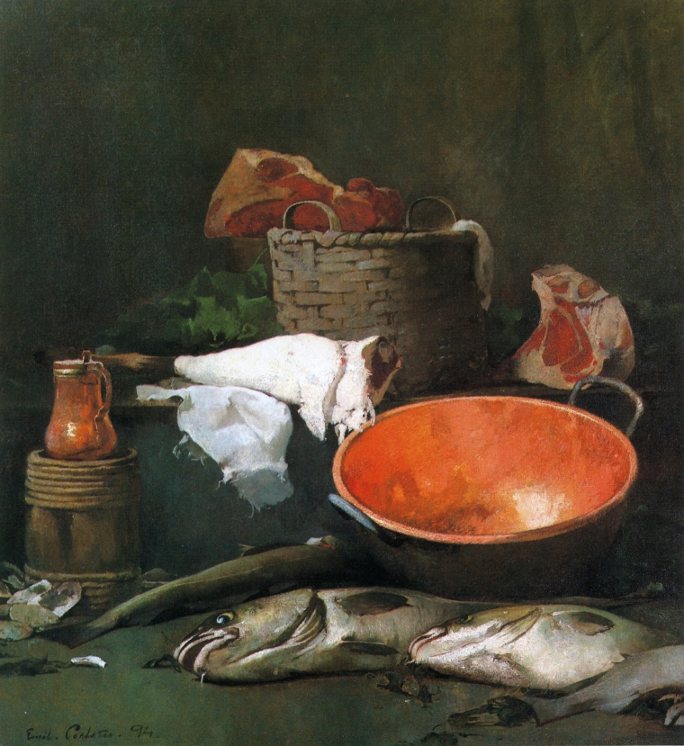 Emil Carlsen : Still life with fish and copper bowl, 1894.