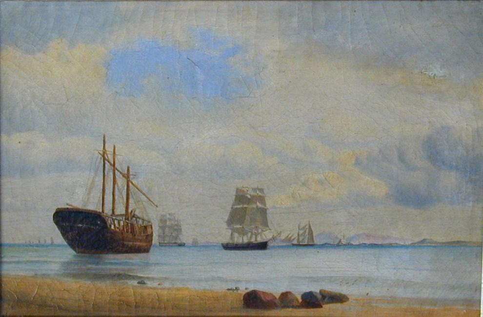 Emil Carlsen : Coastal scene with ships, 1870.