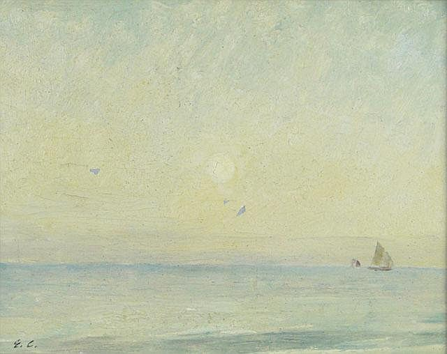 Emil Carlsen Early Morning Oceanscape with Sailboat, c.1912