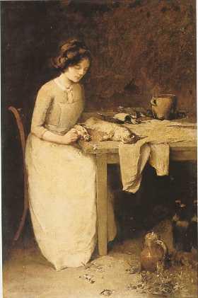 Emil Carlsen Women In Kitchen Interior (also called Preparing The Meal), c.1885